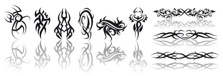 Abstract vector illustration of several tribal tattoos Vector