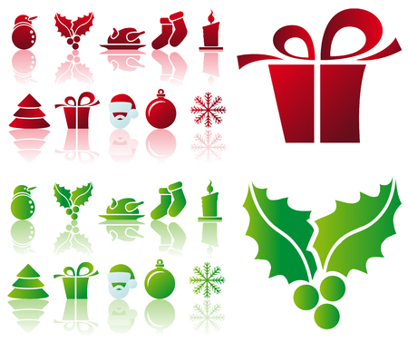 Abstract vector illustration of several christmas icons and symbols