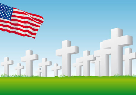 Abstract vector illustration of an american flag over a graveyard Vector