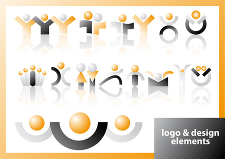 Abstract vector illustration of logo and design symbols
