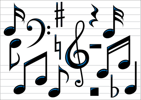 musical notation: Abstract vector illustration of music notes