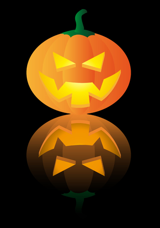 Abstract vector illustration of a halloween pumpkin over a black background Stock Vector - 3426030
