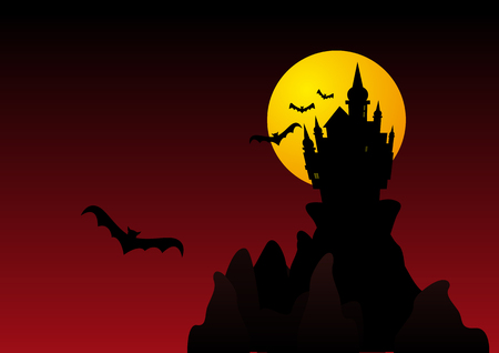 chills: Abstract vector illustration of a spooky castle on cliffs surrounded by bats