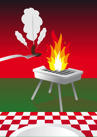 Abstract vector illustration of a bbq