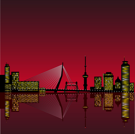 citylife: Abstract vector illustration of the skyline of Rotterdam with reflection in the water Illustration