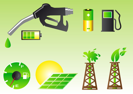 Abstract vector illustration of green energy symbols Vector