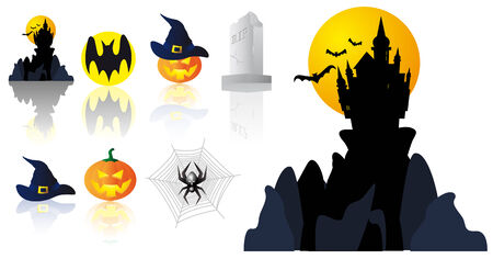 Abstract vector illustration of several halloween symbols Çizim