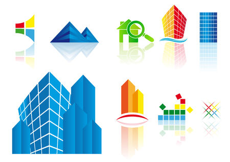 inspecting: Abstract vector illustrations of building icons