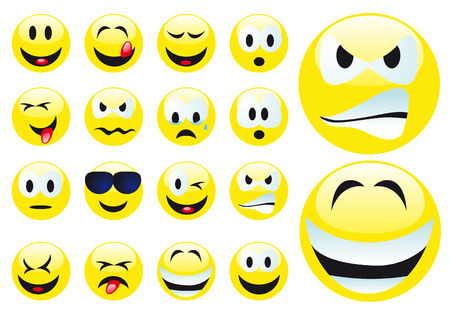 Abstract vector illustration of several smilies