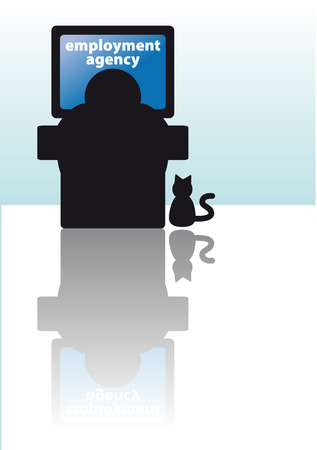 earnings: Abstract vector illustration of a man looking for a job on internet Illustration