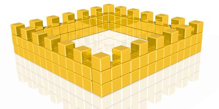 lined up: 3d rendering of golden cubes lined up like a castlewall
