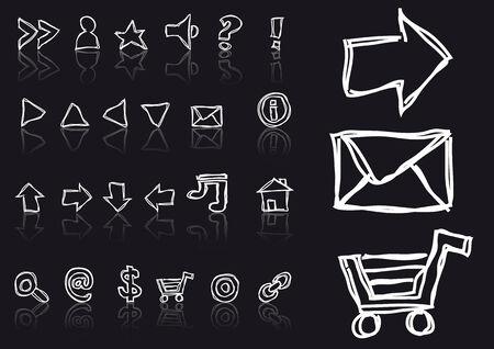 sketched icons: Resumen de dibujo vectorial de iconos esbozado web