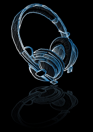 crosshatch: Abstract vector pencil drawing of a pair of headphones