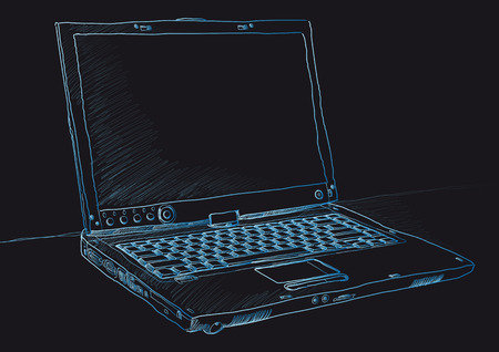 Sketch style pencil drawing of a modern laptop Vector