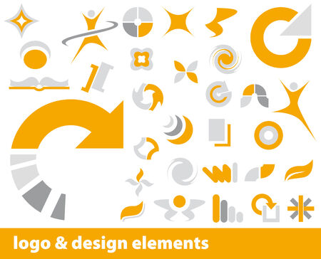 logo vector: Abstract vector logo and design elements in orange and grey Illustration