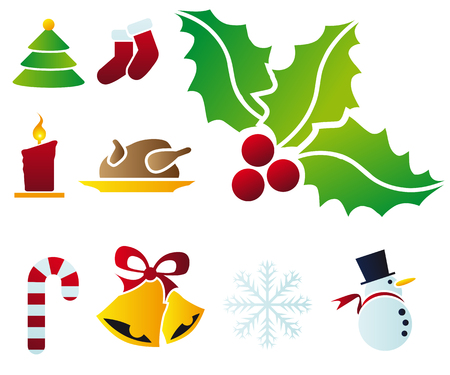 Abstract vector illustration of several christmas icons and symbols Vector