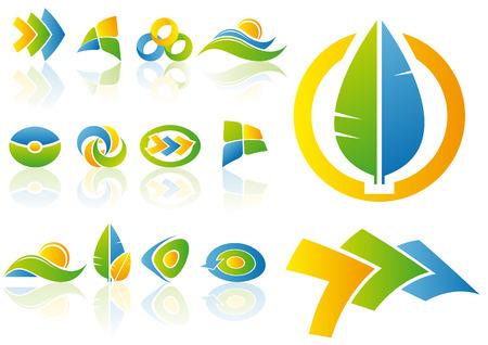 Resumen ilustración vectorial conjunto de logotipo y elementos de diseño