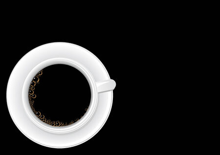 Vector illustration of a cup of coffee from the top with space for copy Stock Vector - 3591934
