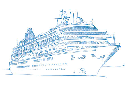 cruise travel: Sketched drawing of a cruiseliner over a white