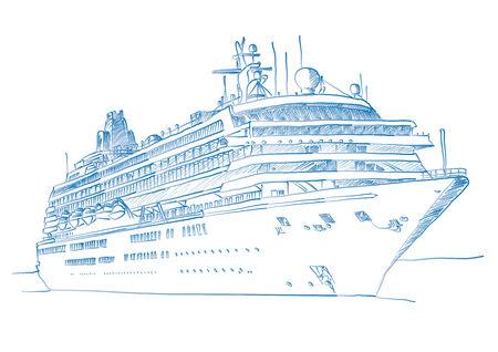 Skizzierte Zeichnung ein Kreuzfahrtschiff über einem weißen Hintergrund