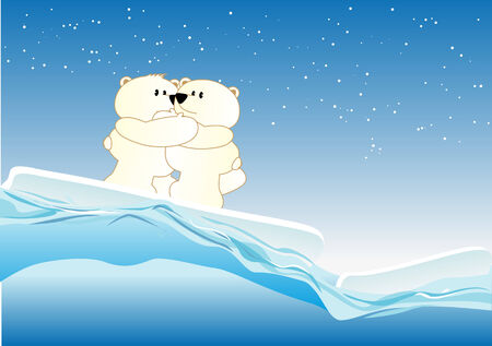 northpole: Abstract vector illustration of some cute icebears keeping each other warm Illustration