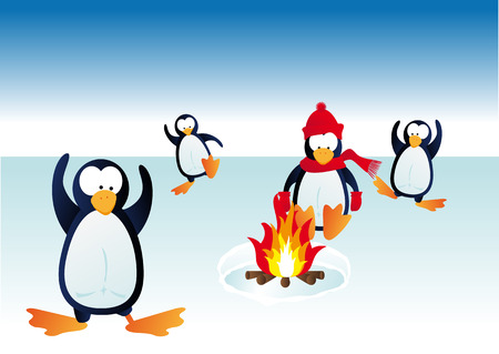 Abstract  vector illustration of penguins in winter