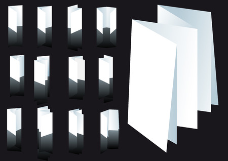 Abstract vector illustration set of several brochure folding techniques
