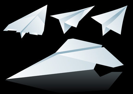 Abstract vector illustration of folded paper planes over black