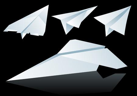 papier pli�: R�sum� illustration vectorielle de papier pli� avions plus de noir
