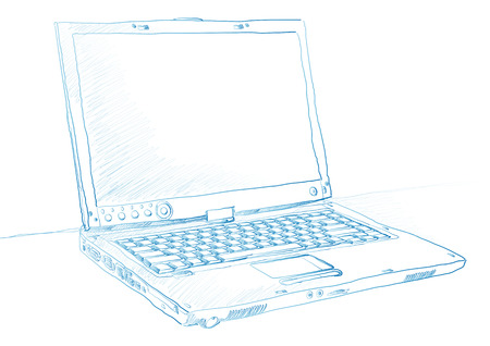 Artist sketch of a laptop in blue ink over a white