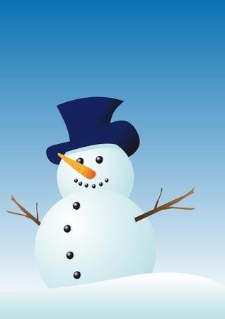 Abstract vector illustration d'un bonhomme de neige en hiver