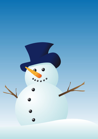 Abstract vector illustration of a snowman in winter