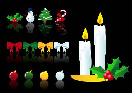 Abstract vector illustration of christmas symbols over black Stock Vector - 3636094