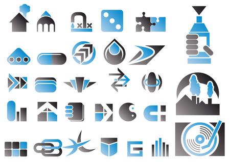 logo casa: Abstract illustrazione vettoriale di un insieme di simboli e di progettazione del logo
