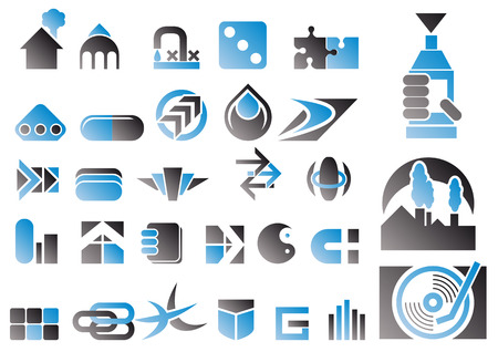construction logo: Abstract vector illustration of a set of logo and design symbols