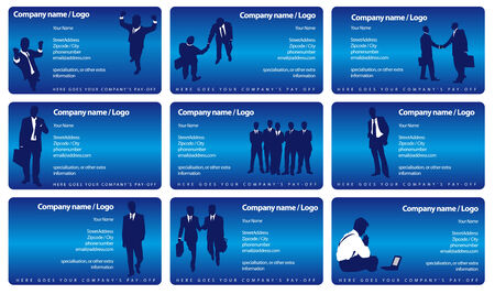 Vector set businesscards met de silhouetten van zakenlieden