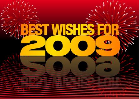 2009 년 최고의 불꽃 놀이와 추상적 인 벡터 일러스트 레이션 일러스트