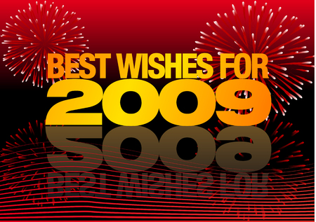 two thousand: Abstract vector illustration with fireworks wishing you the best for 2009