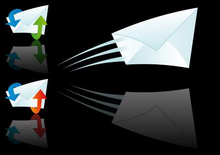 Abstract vector illustration of an email symbol over black Vector
