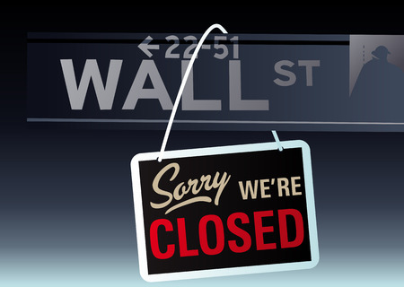 nasdaq: Abstract vector illustration of wall street with the sign sorry were closed