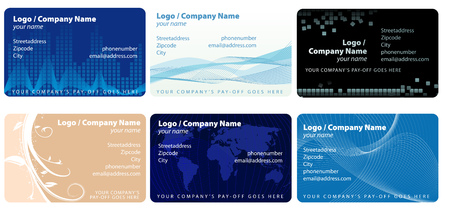 Abstract vector illustration of several businesscard layouts Çizim