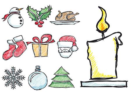 sketched icons: Esbozado vector dibujo a l�piz iconos de la Navidad Vectores
