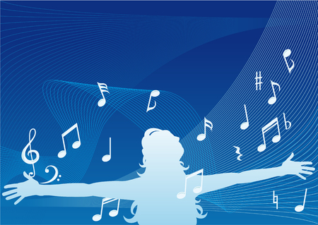 ultimate: Abstract vector silhouette illustration of a woman with headphones and arms out