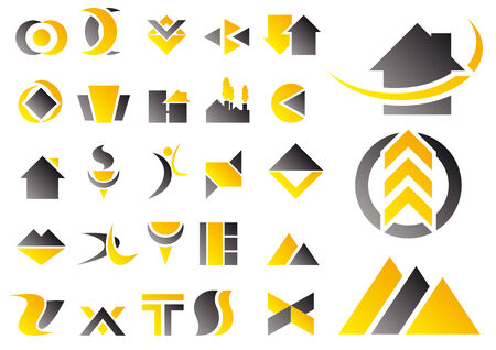 Abstract vector illustration of a set of logo and design symbols