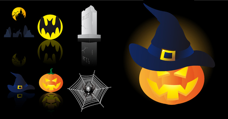 Abstract vector illustration of several halloween symbols Stock Vector - 3665885