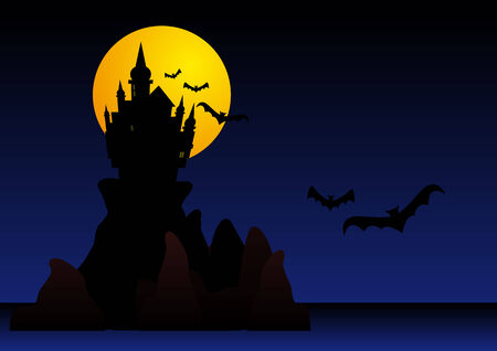 Abstract vector illustration of a spooky castle on cliffs surrounded by bats Stock Vector - 3665879