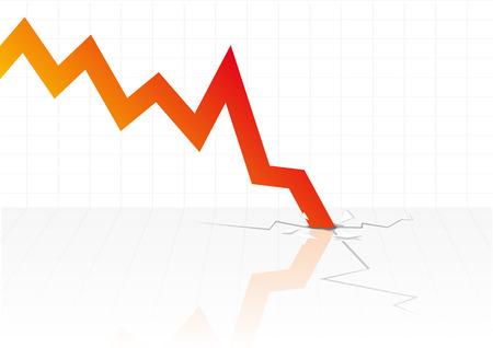 Abstract vector illustratie van financiële grafieken crashen door de vloer