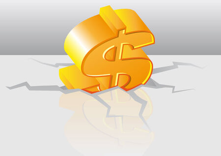 stockexchange: Abstract vector illustration of a gold dollar symbol crashed into the floor Illustration
