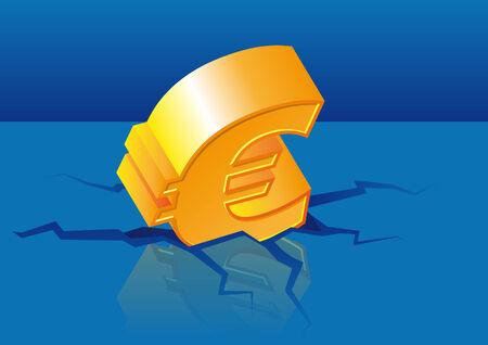 Abstract vector illustratie van een goud-euro-symbool is neergestort in de vloer Stock Illustratie