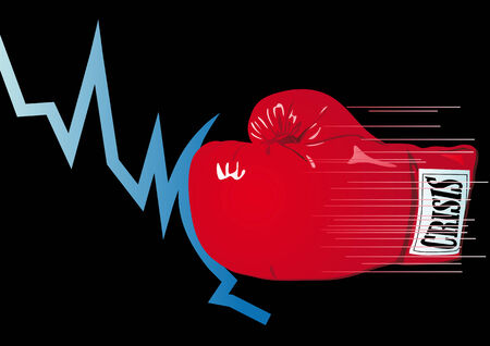 ko: Abstract vector illustration of a graph being knocked out by a boxing glove